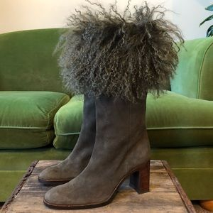 Shoes - Angora trimmed suede heeled boots
